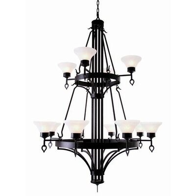 Savino 12-Light Shaded Chandelier Finish: Rustic Iron