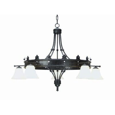 Strada 5-Light Shaded Chandelier Finish: Blackened Pewter