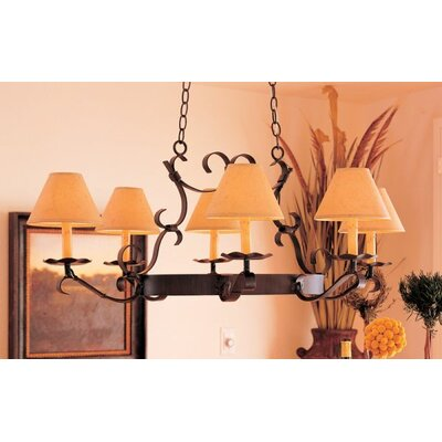 Handforged Oval 6-Light Shaded Chandelier