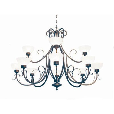 Mirasol 12-Light Shaded Chandelier Finish: Blackened Pewter