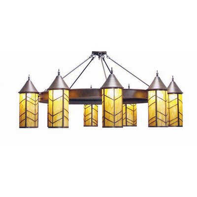 Chevron 10-Light Shaded Chandelier Finish: Organic Rust