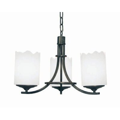 Octavia 3-Light Shaded Chandelier Finish: Blackened Pewter