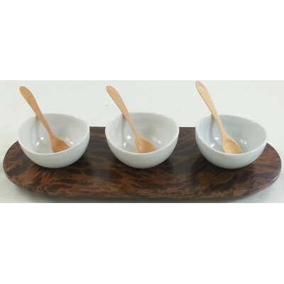 4 Piece Mango Wood Condiment Tray Set