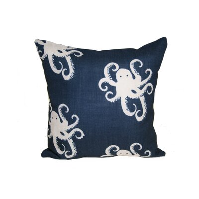 Octopoda Throw Pillow Size: 24 H x 24 W x 6 D, Color: Blue