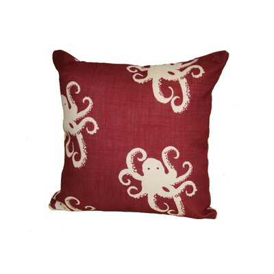 Octopoda Throw Pillow Size: 24 H x 24 W x 6 D, Color: Red