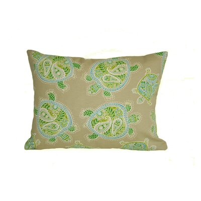 Coastal Tranquil Turtles Outdoor Lumbar Pillow Color: Green