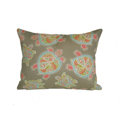 Coastal Tranquil Turtles Outdoor Lumbar Pillow Color: Seagrass