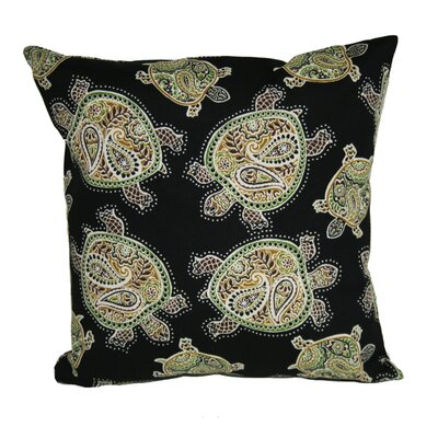 Sunbury Tranquil Turtles Indoor/Outdoor Throw Pillow Size: 13 H x 13 W x 4 D, Color: Black