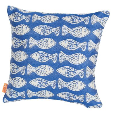 Coastal Fish Tales Indoor/Outdoor Throw Pillow Size: 17 H x 17 W x 4 D, Color: Royal