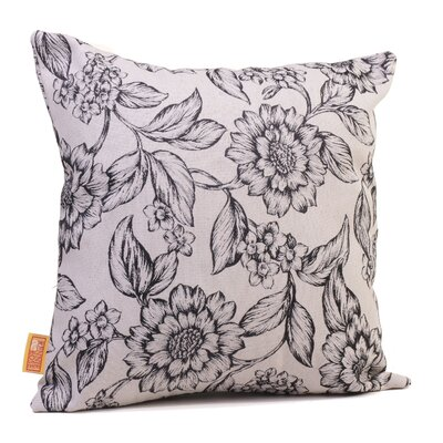 Hawthorne Floral Throw Pillow Size: 17 H x 17 W x 4 D, Color: Onyx