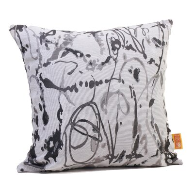 Drip Painting Throw Pillow Size: 17 H x 17 W x 4 D, Color: Steel