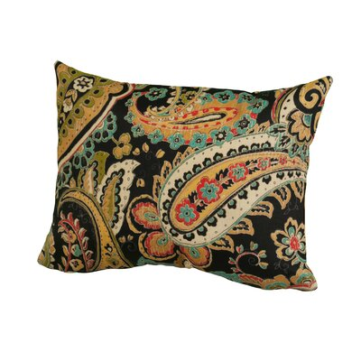 Hadia Paisley Indoor/Outdoor Throw Pillow Size: 12 H x 16 W x 5 D, Color: Black