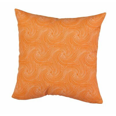 Waves Outdoor Throw Pillow Size: 17 H x 17 W x 5 D, Color: Orange