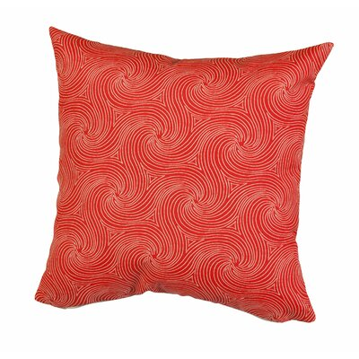 Waves Outdoor Throw Pillow Size: 17 H x 17 W x 5 D, Color: Red