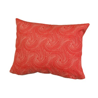 Waves Outdoor Throw Pillow Size: 12 H x 16 W x 5 D, Color: Red