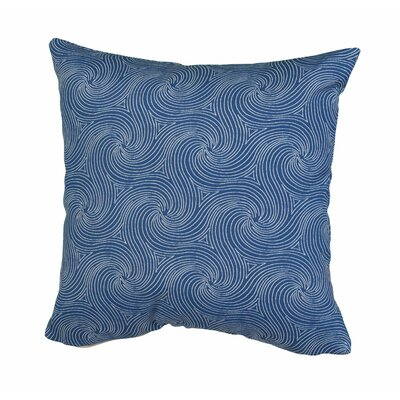 Waves Outdoor Throw Pillow Size: 24 H x 24 W x 5 D, Color: Blue