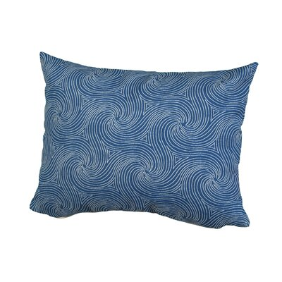 Waves Outdoor Throw Pillow Size: 12 H x 16 W x 5 D, Color: Blue