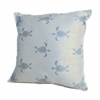 Coastal Sea Turtle Throw Pillow Size: 18 x 18, Color: Surf / Blue