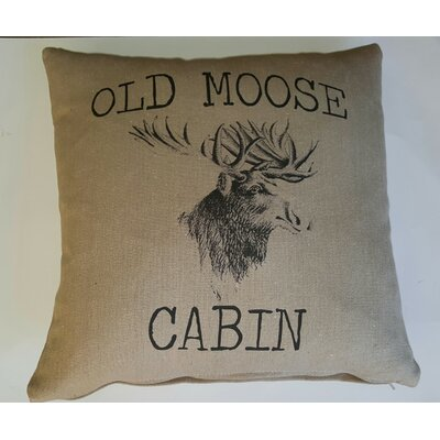 Old Moose Cabin Cotton Throw Pillow