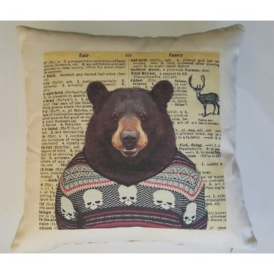 Bear in Sweater Cotton Throw Pillow