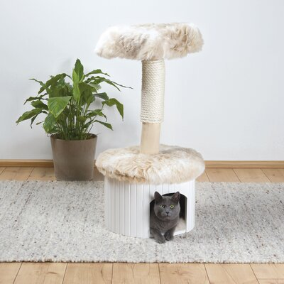 39 Meru Cat Tree Color: Marbled White-Beige