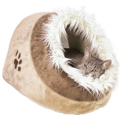 Minou Cuddly Cat Condo Size: 10.25 H x 13.75 W x 16 D, Color: Beige/Brown