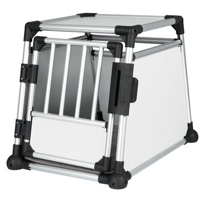 Luther Scratch-Resistant Metallic Pet Crate Size: Medium (24.25 H x 21.5 W x 30.5 L)