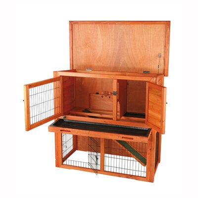 Animal Hutch with Sloped Roof Size: 30.5 H x 33.25 W x 17.5 D