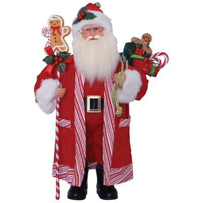 Candy Cane and Gingerbread Santa Figurine