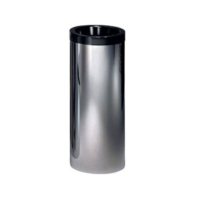 Peter Pepper Metal Cylindrical Trash Receptacle with Top Ring and Trash Bucket - Color: Black
