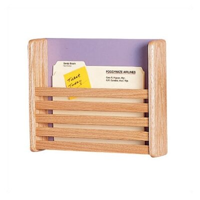 One Pocket Medical & File Chart Holder with Slats Back Panel: Haze, Sides / Slats: Oak