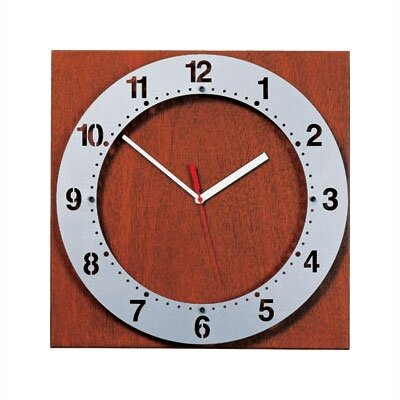 Round Floating Steel Face Clock with Square Back Back Panel Finish Aluminum Metallic Floating Face Color Aluminum Metallic Hand Color Black