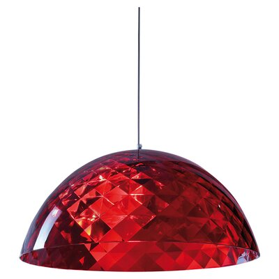 Stella 1-Light Bowl Pendant Color: Transparent Red, Size: XL