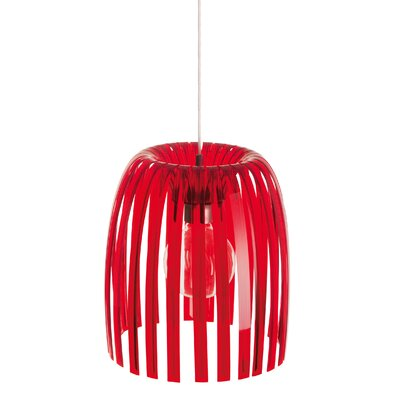 Steinberger 1-Light Bowl Pendant Color: Transparent Red, Size: Medium