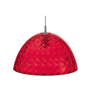 Stella 1-Light Bowl Pendant Color: Transparent Red, Size: Medium