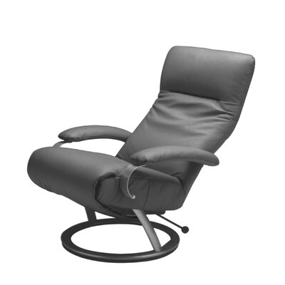 Kiri Leather Ergonomic Recliner Upholstery: Beige, Frame Finish: Silver