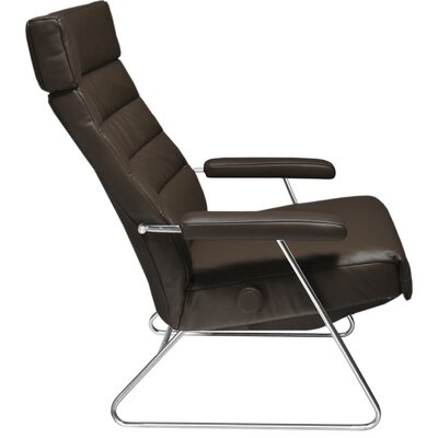 Adele Leather Manual Recliner Upholstery: Black