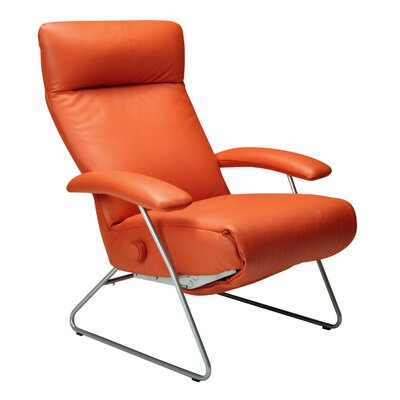 Demi Leather Manual Recliner Upholstery: Saddle