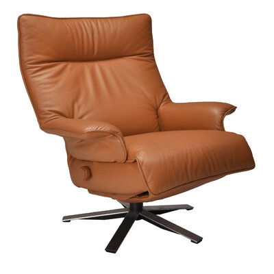 Valentina Leather Manual Swivel Recliner Upholstery: Saddle
