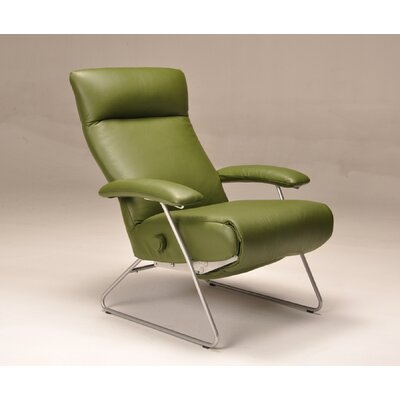 Demi Leather Manual Recliner Upholstery: Green