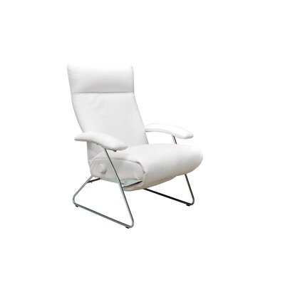 Demi Leather Manual Recliner Upholstery: White