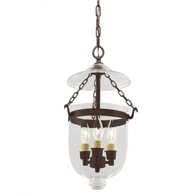 3-Light Small Bell Jar Foyer Pendant Finish: Oil Rubbed Bronze