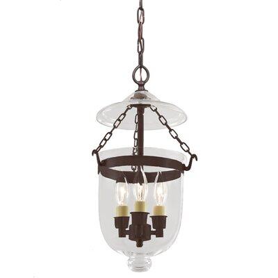 3-Light Small Bell Jar Foyer Pendant Finish: Oil Rubbed Bronze