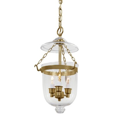 3-Light Small Bell Jar Foyer Pendant Finish: Rubbed brass