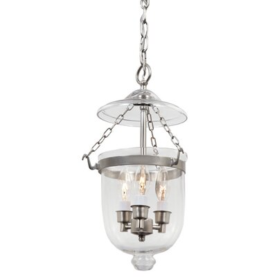 3-Light Small Bell Jar Foyer Pendant Finish: Pewter