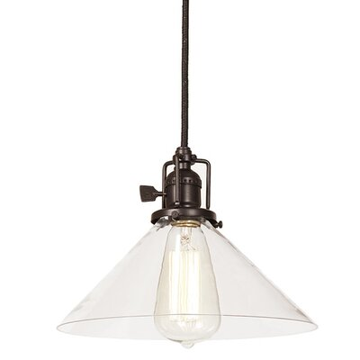 Edgar 1-Light Mouth Blown Glass Mini Pendant Finish: Oil Rubbed Bronze