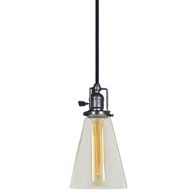 Edgar 1-Light Blown Glass Mini Pendant Finish: Gun Metal