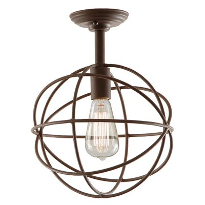 Globe 1-Light Semi Flush Mount Finish: Rust