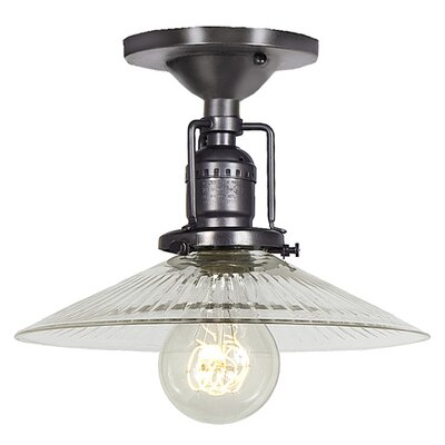 Edgar 1-Light Ribbed Glass Semi Flush Mount Shade Color: Antique Mercury, Finish: Polished Nickel