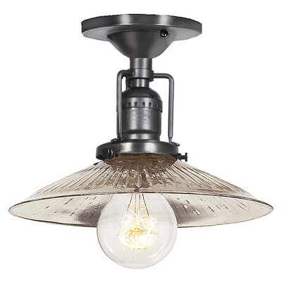 Edgar 1-Light Ribbed Glass Semi Flush Mount Finish: Gun Metal, Shade Color: Antique Mercury